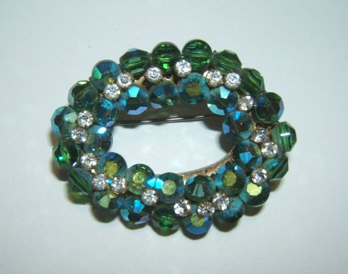 Vintage Green Glass & Aurora Borealis Pin Brooch