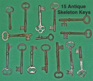Lot of 15 Antique Skeleton Keys