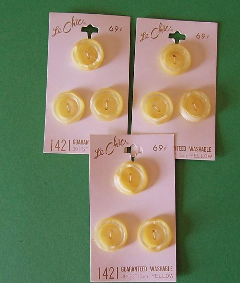 3 cards vintage butter yellow buttons from Le Chic MOC