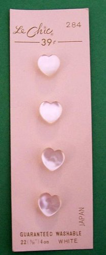 Vintage card of white pearlized heart buttons LeChic MOC made in Japan