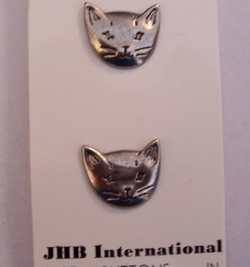 Pair of silver cat buttons MOC