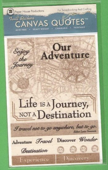 Printed canvas travel theme stickers to paint, color, fray Paper House