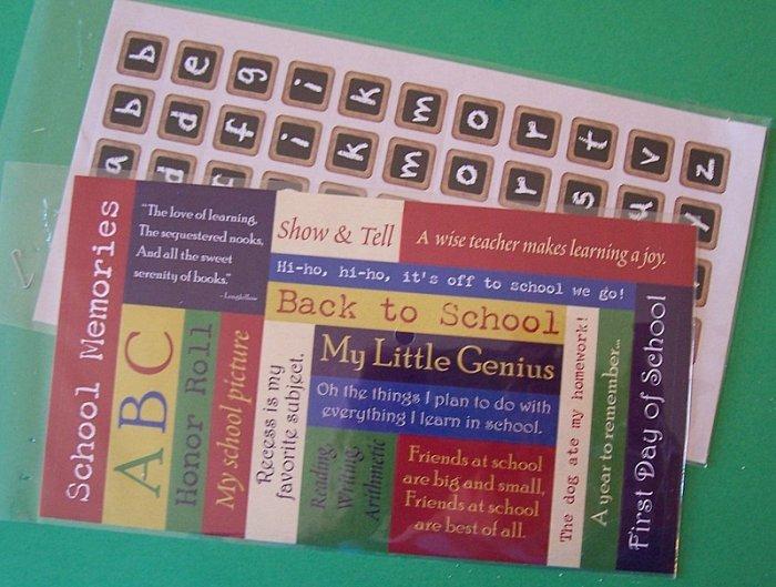 2 sets school theme stickers one alphabet set