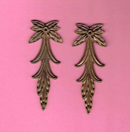 Pair antique brass swags embellishments for crafting