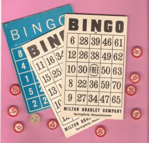 Lot vintage Bingo cards and wooden place markers for crafting