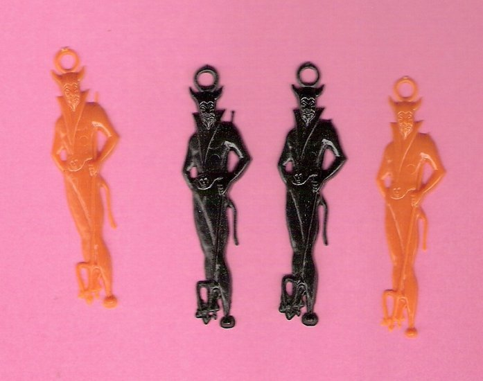 1950s plastic devils charms for altered art holidays crafts