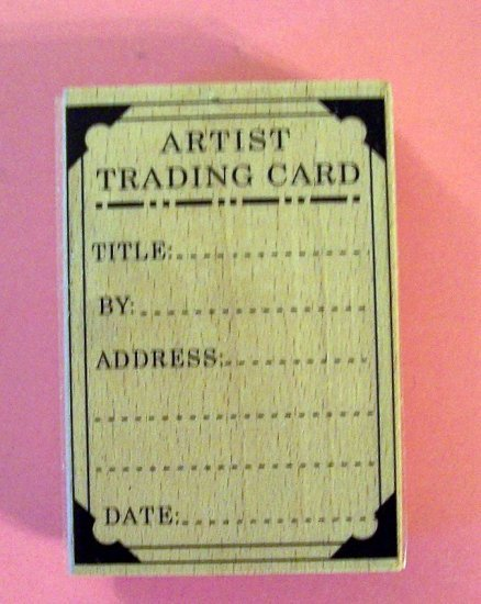 Artist Trading Card label mounted rubber stamp