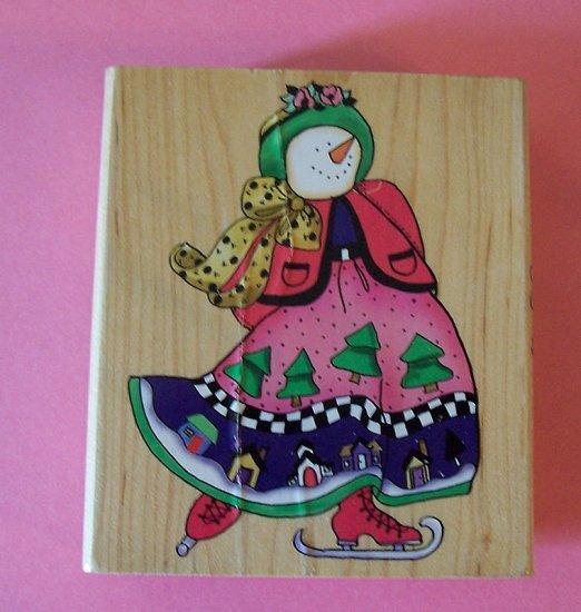 Inkadinkadoo Skating snowman mounted rubber stamp
