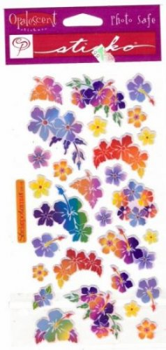 Opalescent Hibiscus stickers for scrapbook greeting card altered art crafts