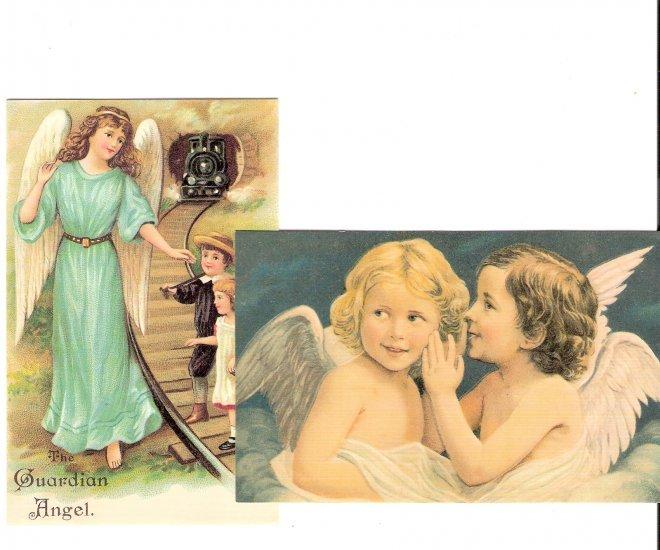 2 angels postcards for scrapbook altered art framing
