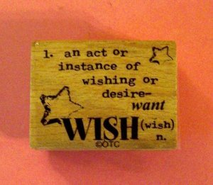 Mounted rubber stamp Wish definition vintage style