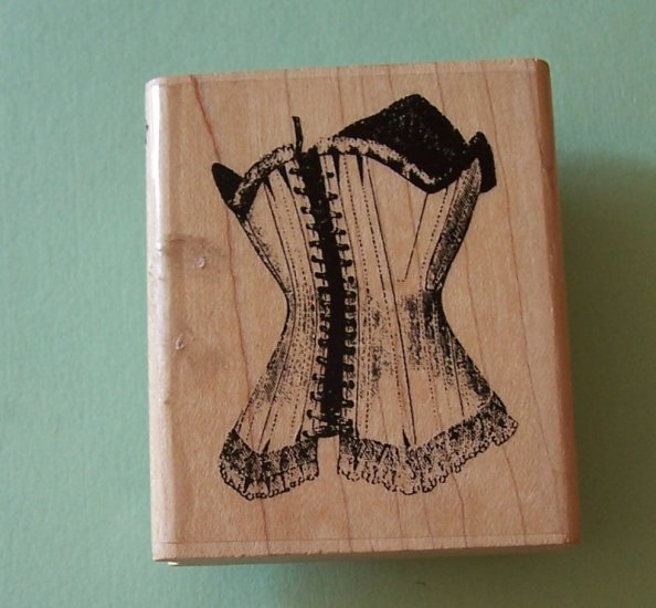 Hampton Stamps mounted rubber stamp vintage corset