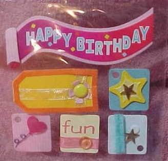 3D embellished birthday stickers for scrapbook greeting card altered art crafts