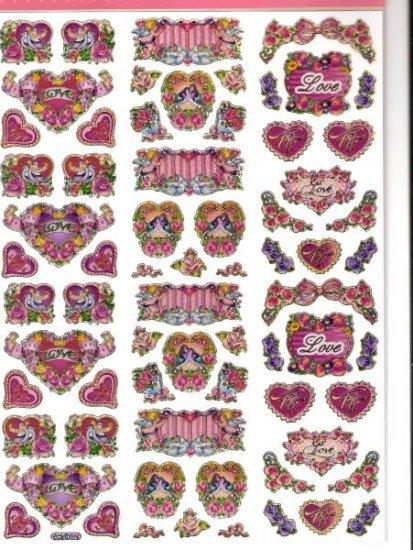 Sheet of 68 hearts and roses laser cut stickers