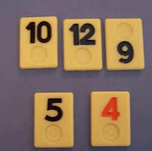 Lot of 5 rummikub plastic tiles for crafts