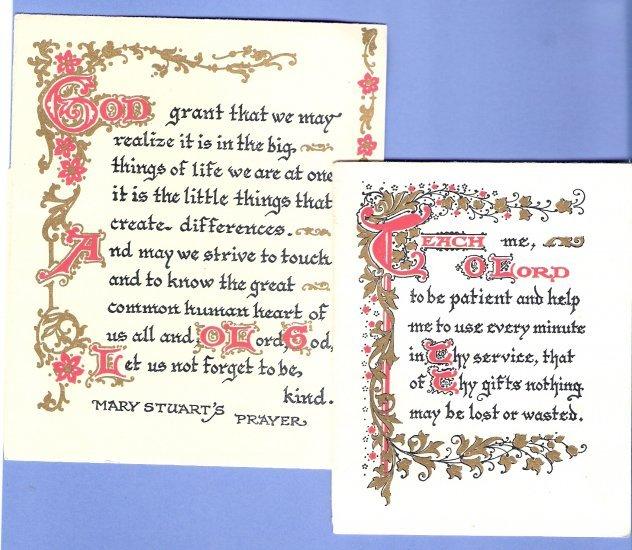 Pair of vintage Prayer prints scraps