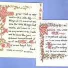 Pair of vintage Prayer prints scraps