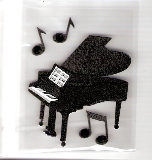 3 Dimensional grand piano stickers for crafts cards scrapbooks