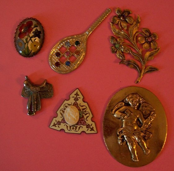 Lot 3 antique jewelry pieces and metal stampings for altered art assemblage and crafts
