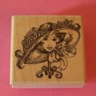Stampabilities fancy womans hat with flowers on stand mounted rubber stamp