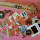 Lot of vintage objects for altered art assemblage crafts toys game pieces key patch more