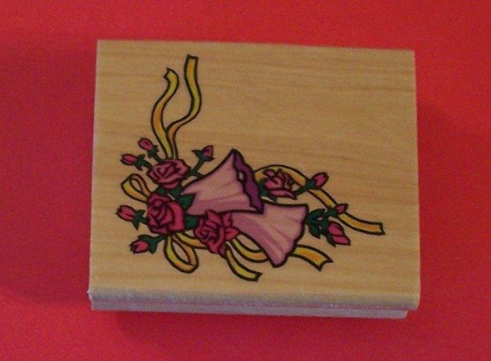 Mounted rubber stamp floral corner design of roses