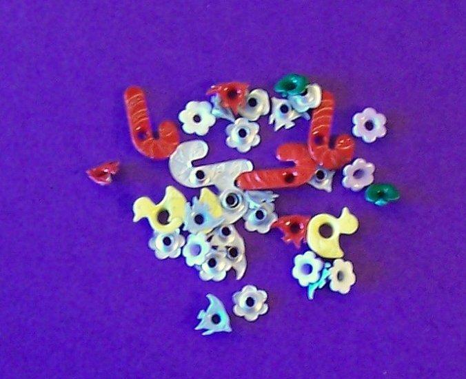 Lot of 3 dozen novelty eyelets for scrapbooks cards-several designs