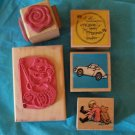 5 rubber stamps flower Winnie Pooh car friendship fishing bear