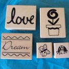 5 rubber stamps butterfly dream love flower butterfly ladybug NEW