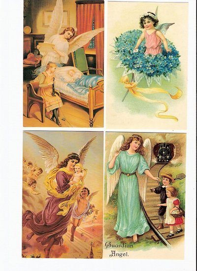 4 Angel reproduction postcards lot 1