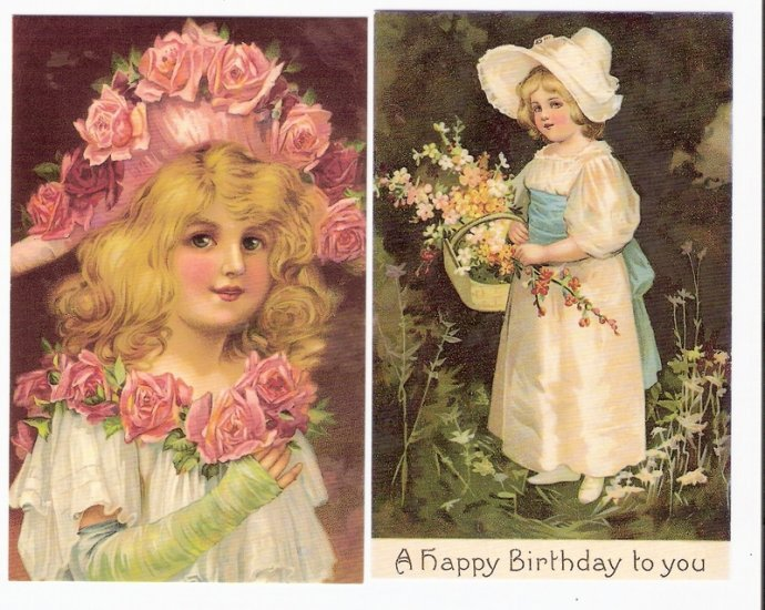 Reproduction postcards Victorian children girls for crafts