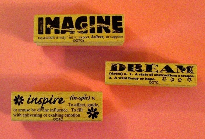 3 mounted rubber stamps Imagine Dream Inspire definitions