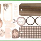 Vintage look clip art tags watches watch spoon etc