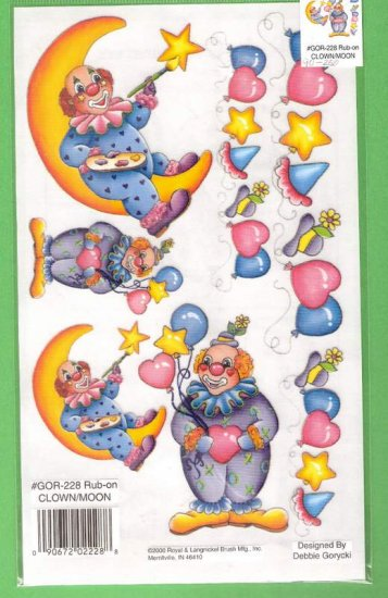 Clown theme rub ons for crafts scrapbooks and more