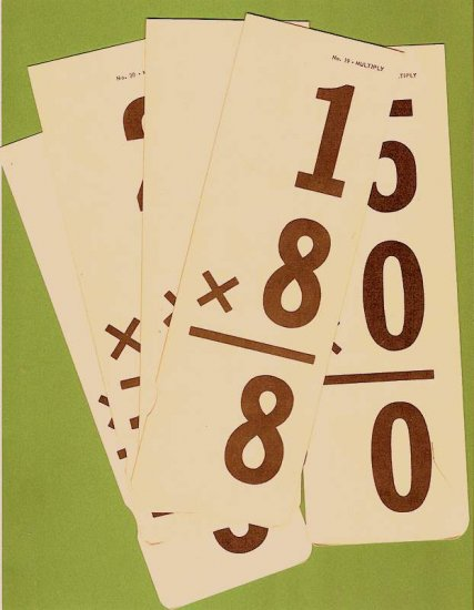Vintage multiplication flash cards long style set of 5