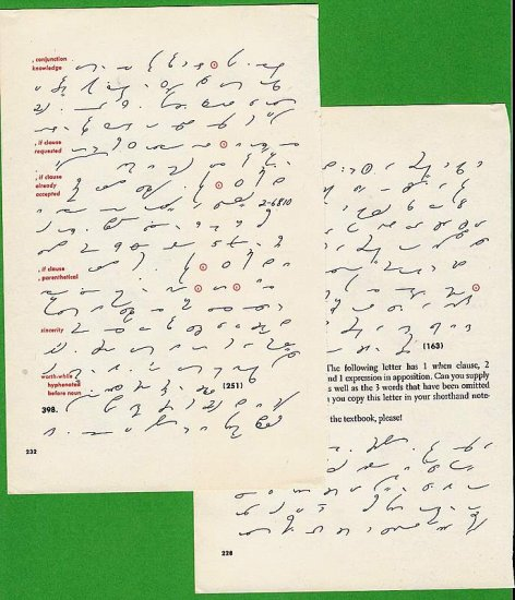 2 pages from 1950s Stenographers textbook for scrapbooks altered art crafts