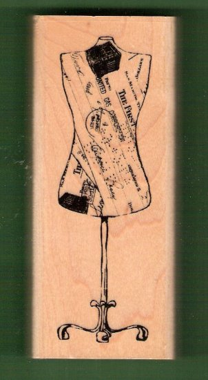 Antique dressmaker mannekin mounted rubber stamp Inkadinkadoo