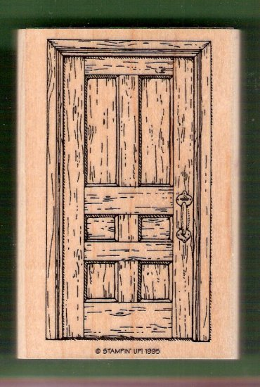 Wooden front door mounted rubber stamp Stampin Up