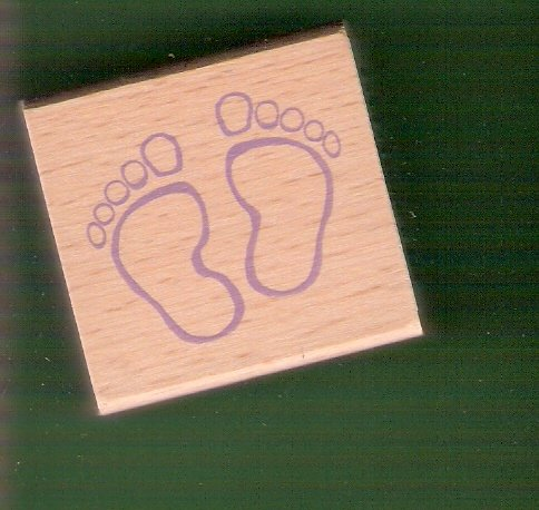 Baby feet mounted rubber stamp