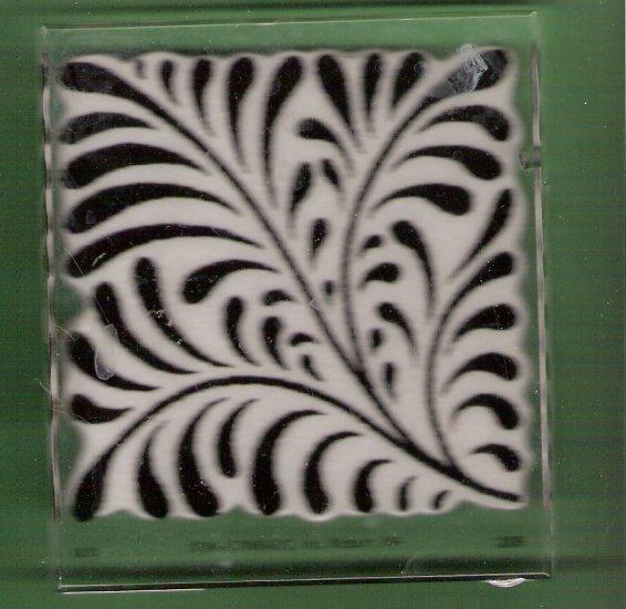 Acrylic mounted rubber stamp fern flourish large Inkadinkadoo