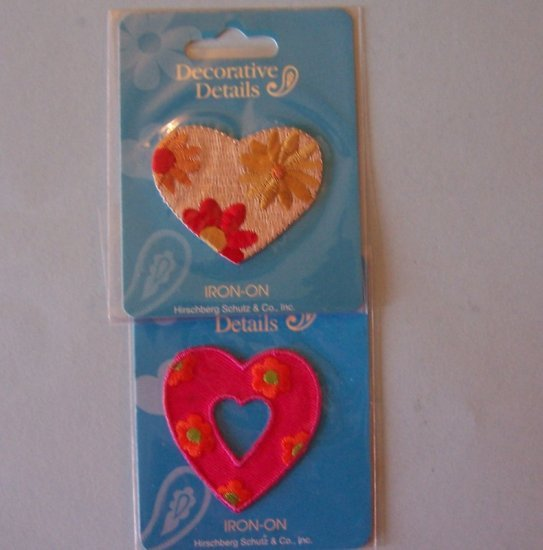 2 Vintage embroidered hearts appliques MIP
