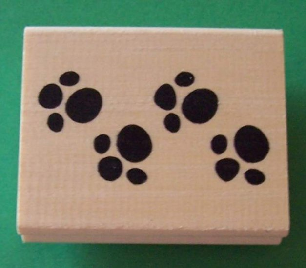 Large puppy paw prints mounted rubber stamp