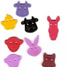 Lot of plastic novelty animal head buttons for crafting sewing scrapbooks primary colors