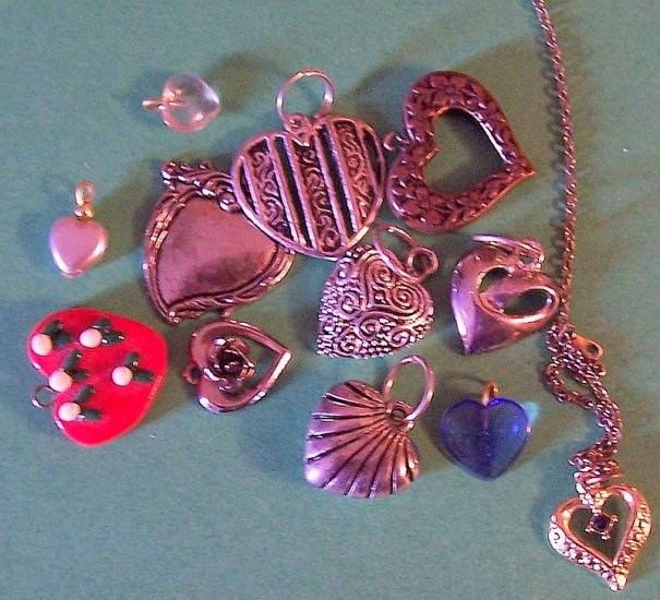 Large lot heart theme charms for jewelry altered art crafts