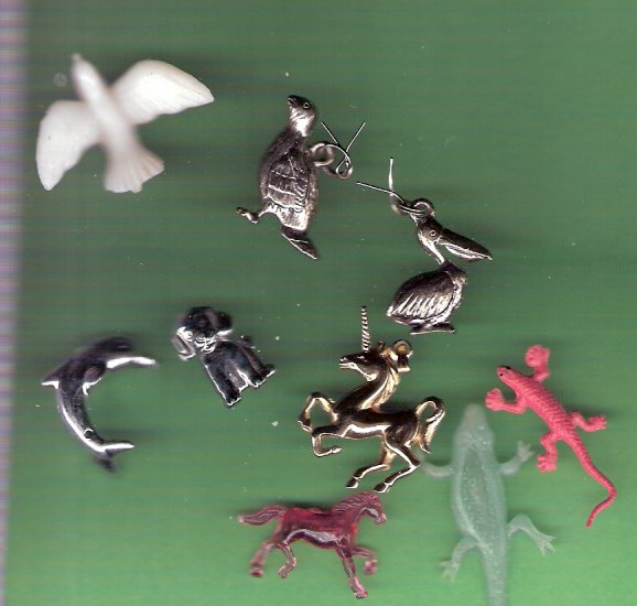 Large lot tiny animals toys charms metal plastic for crafting