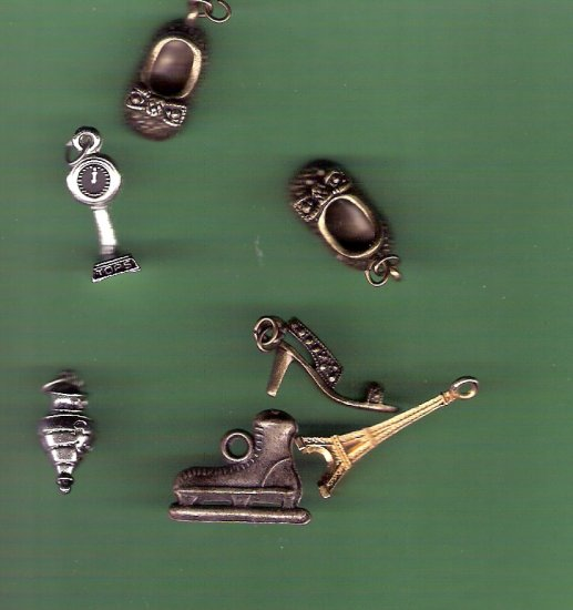 Mixed lot of charms shoes skates scales toy Eiffel Tower
