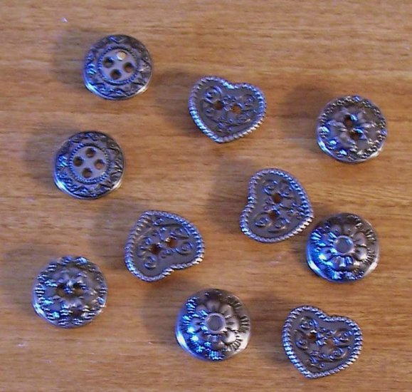 Lot of 8 fancy large nailhead buttons in pewter color hearts flowers