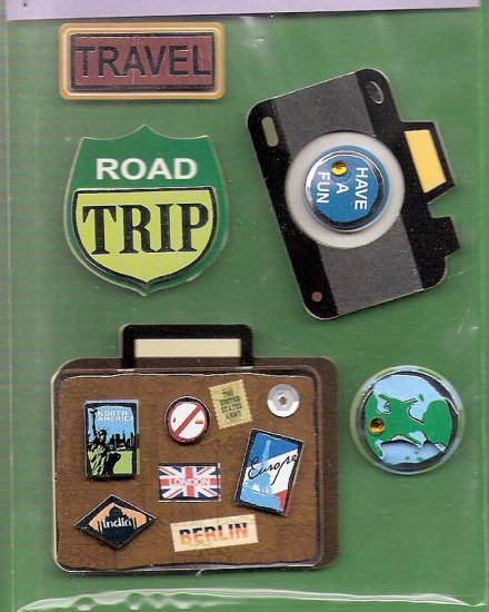 3 dimensional Travel stickers for scrapbooks cards albums MIP