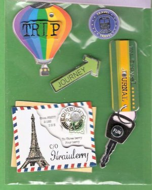 3 dimensional travel stickers balloon keys letters MIP