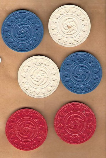 Vintage poker chips king size red white blue with pinwheel design